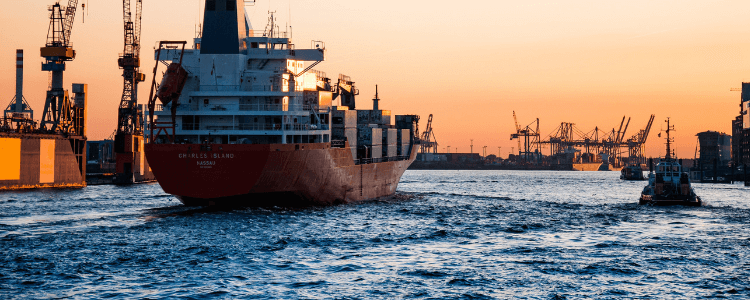 container ship in need of a waste collection